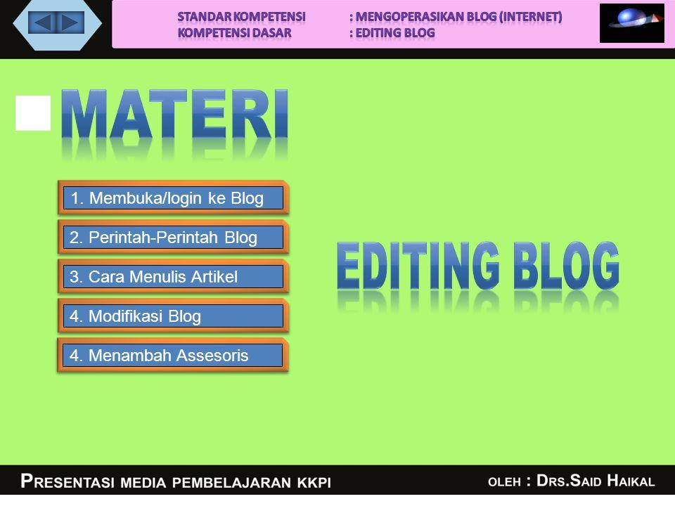 1.Membuka/login ke Blog2. Perintah-Perintah Blog3.
