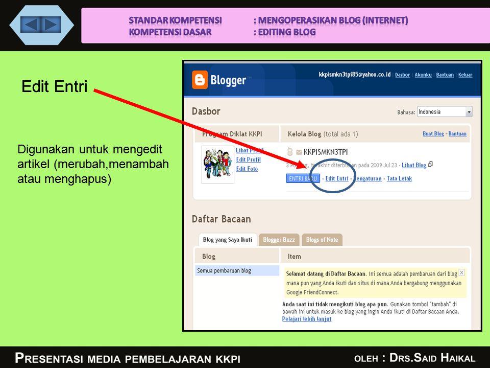 Edit Entri Digunakan untuk mengedit artikel (merubah,menambah atau menghapus) Edit Entri Digunakan untuk mengedit artikel (merubah,menambah atau menghapus)
