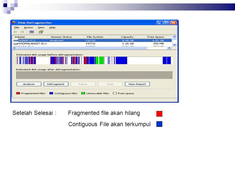 Fragmented file akan hilang Contiguous File akan terkumpul Setelah Selesai :