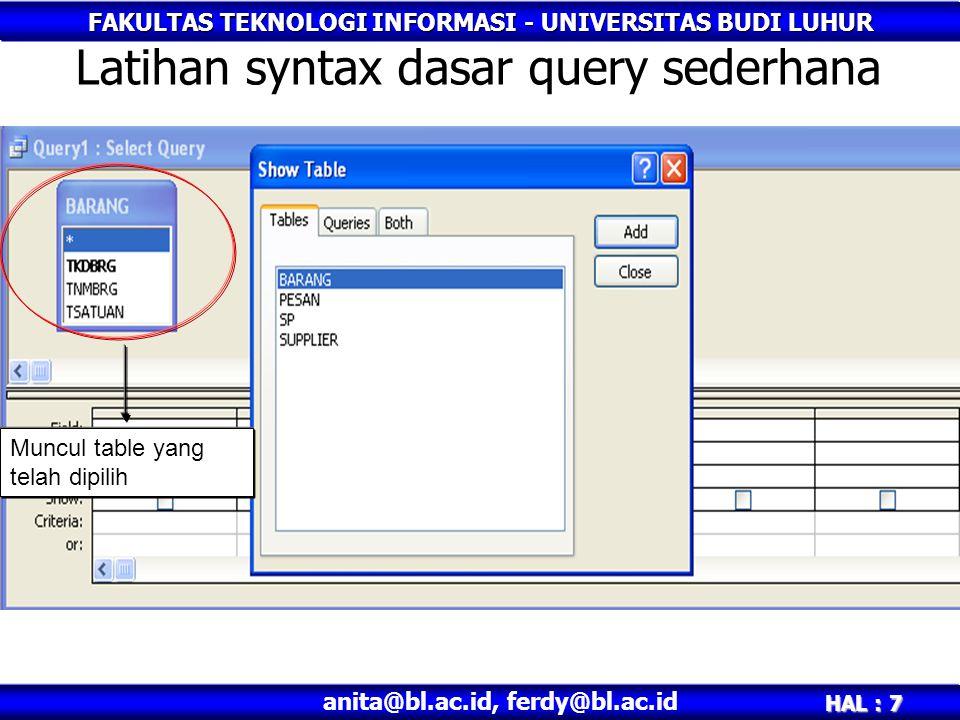 FAKULTAS TEKNOLOGI INFORMASI - UNIVERSITAS BUDI LUHUR HAL : 7 anita@bl.ac.id, ferdy@bl.ac.id Latihan syntax dasar query sederhana Muncul table yang telah dipilih