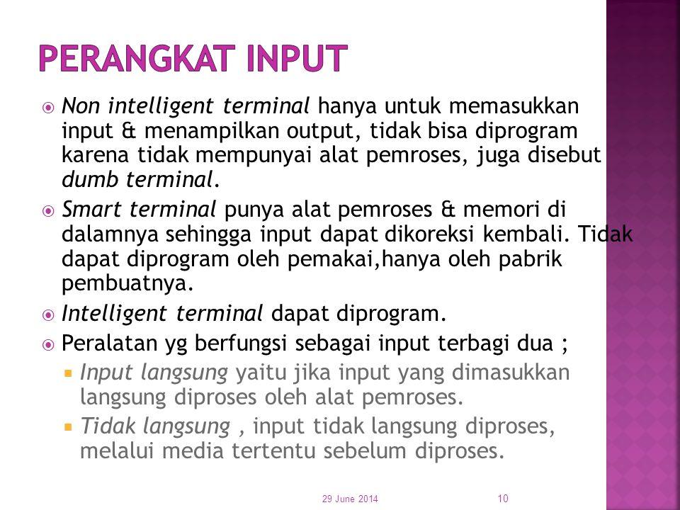  Non intelligent terminal hanya untuk memasukkan input & menampilkan output, tidak bisa diprogram karena tidak mempunyai alat pemroses, juga disebut
