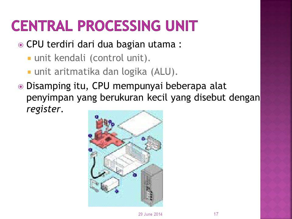  CPU terdiri dari dua bagian utama :  unit kendali (control unit).  unit aritmatika dan logika (ALU).  Disamping itu, CPU mempunyai beberapa alat