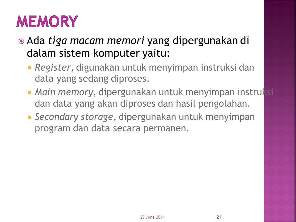  Ada tiga macam memori yang dipergunakan di dalam sistem komputer yaitu:  Register, digunakan untuk menyimpan instruksi dan data yang sedang diprose
