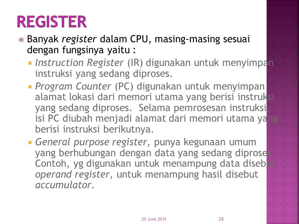  Banyak register dalam CPU, masing-masing sesuai dengan fungsinya yaitu :  Instruction Register (IR) digunakan untuk menyimpan instruksi yang sedang