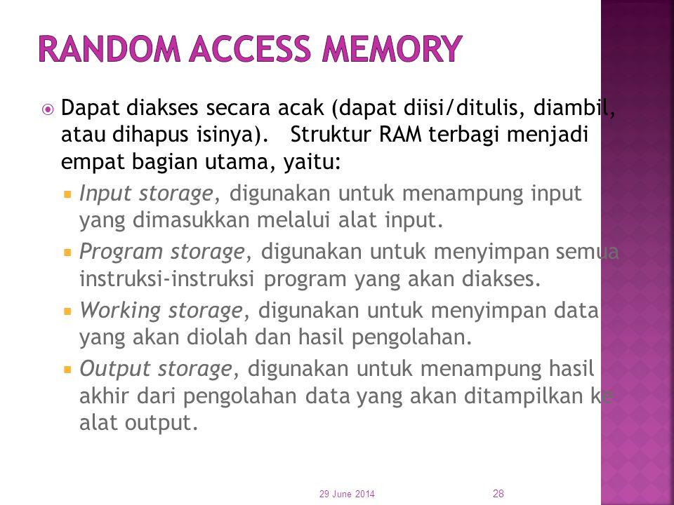  Dapat diakses secara acak (dapat diisi/ditulis, diambil, atau dihapus isinya). Struktur RAM terbagi menjadi empat bagian utama, yaitu:  Input stora