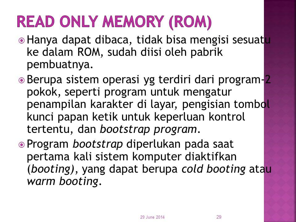  Hanya dapat dibaca, tidak bisa mengisi sesuatu ke dalam ROM, sudah diisi oleh pabrik pembuatnya.  Berupa sistem operasi yg terdiri dari program-2 p
