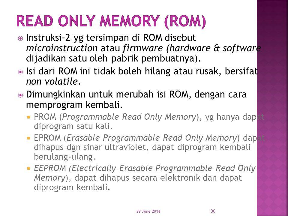  Instruksi-2 yg tersimpan di ROM disebut microinstruction atau firmware (hardware & software dijadikan satu oleh pabrik pembuatnya).  Isi dari ROM i