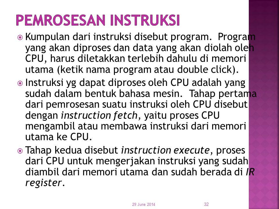  Kumpulan dari instruksi disebut program. Program yang akan diproses dan data yang akan diolah oleh CPU, harus diletakkan terlebih dahulu di memori u