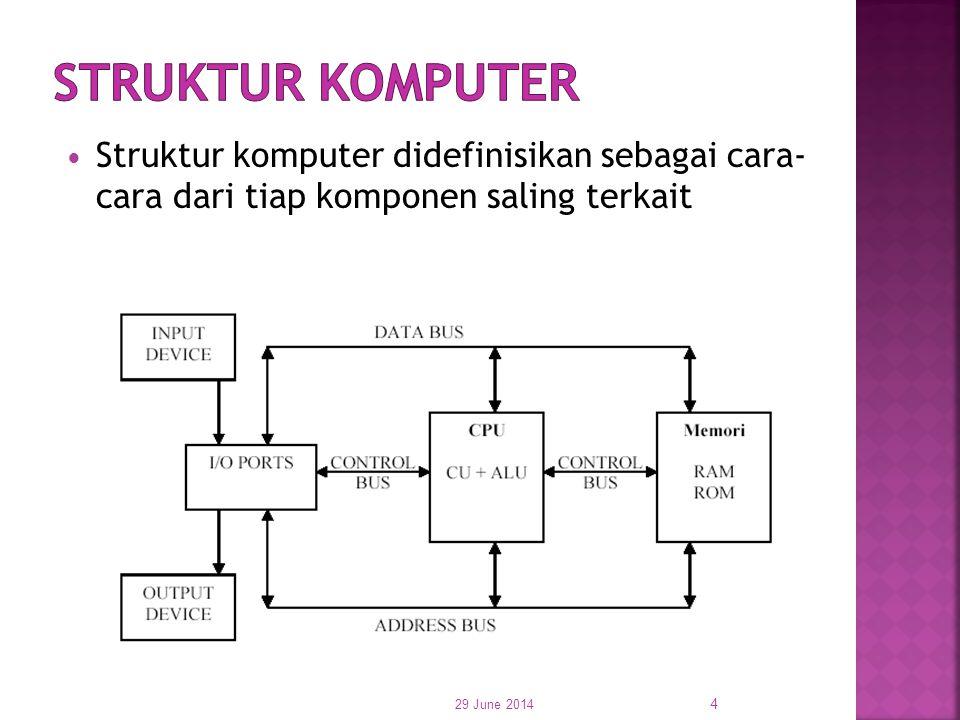  Struktur komputer didefinisikan sebagai cara- cara dari tiap komponen saling terkait 29 June 2014 4