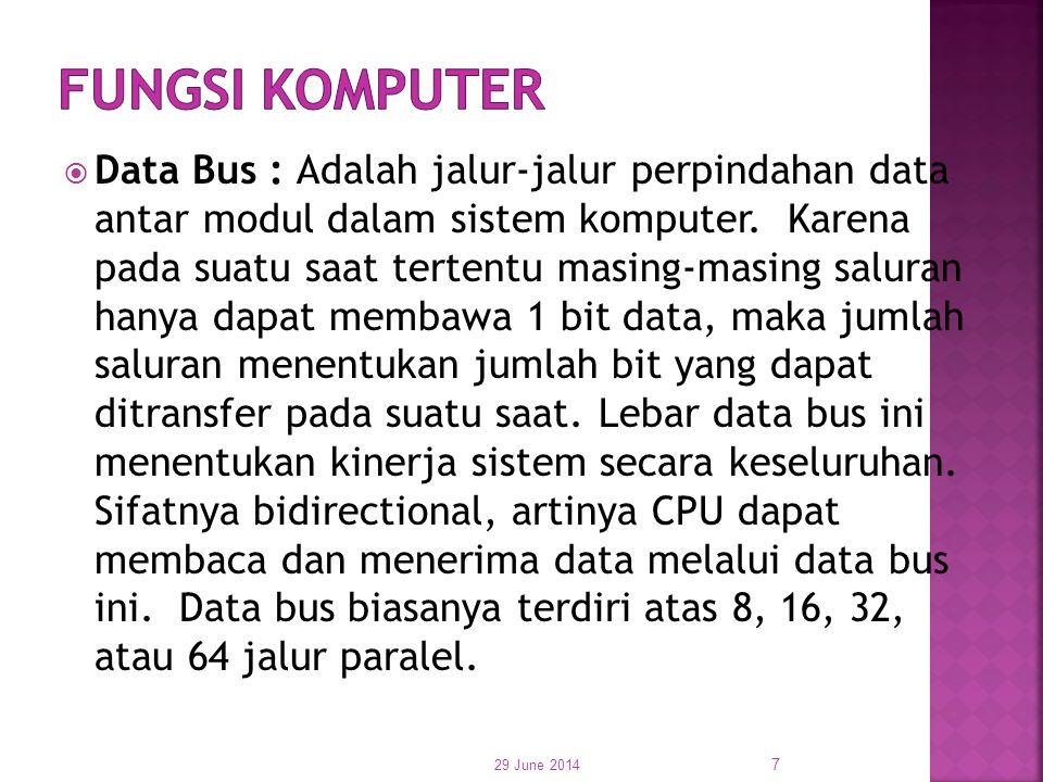  Data Bus : Adalah jalur-jalur perpindahan data antar modul dalam sistem komputer. Karena pada suatu saat tertentu masing-masing saluran hanya dapat