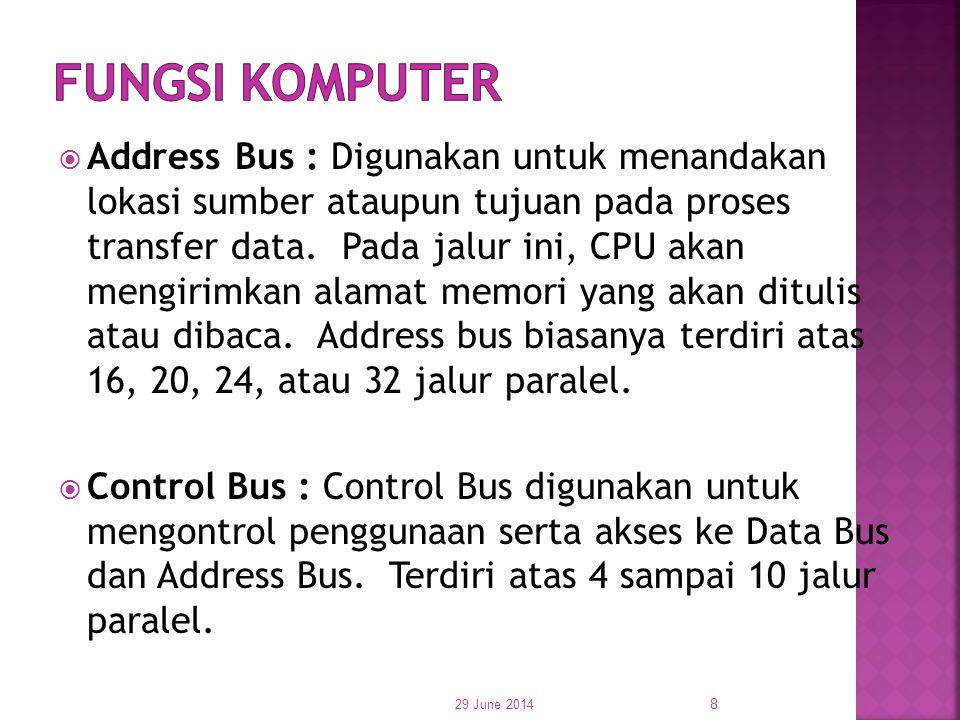  Address Bus : Digunakan untuk menandakan lokasi sumber ataupun tujuan pada proses transfer data. Pada jalur ini, CPU akan mengirimkan alamat memori