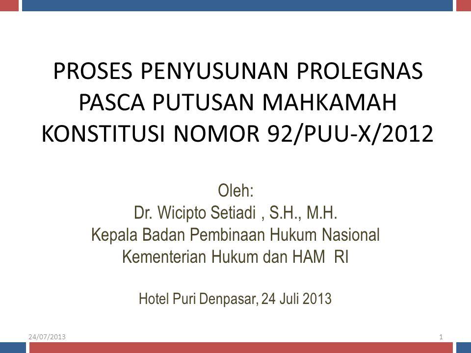 PROSES PENYUSUNAN PROLEGNAS PASCA PUTUSAN MAHKAMAH KONSTITUSI NOMOR 92/PUU-X/2012 Oleh: Dr. Wicipto Setiadi, S.H., M.H. Kepala Badan Pembinaan Hukum N