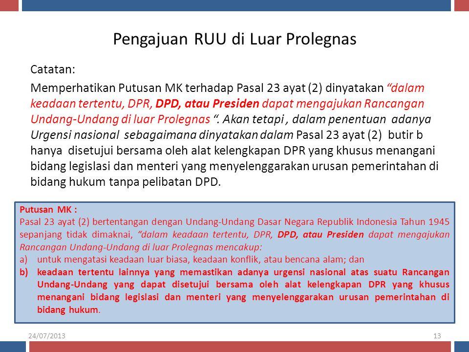 """Pengajuan RUU di Luar Prolegnas Catatan: Memperhatikan Putusan MK terhadap Pasal 23 ayat (2) dinyatakan """"dalam keadaan tertentu, DPR, DPD, atau Presid"""