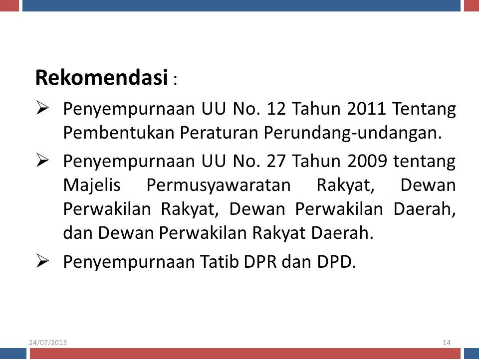 Rekomendasi :  Penyempurnaan UU No. 12 Tahun 2011 Tentang Pembentukan Peraturan Perundang-undangan.  Penyempurnaan UU No. 27 Tahun 2009 tentang Maje
