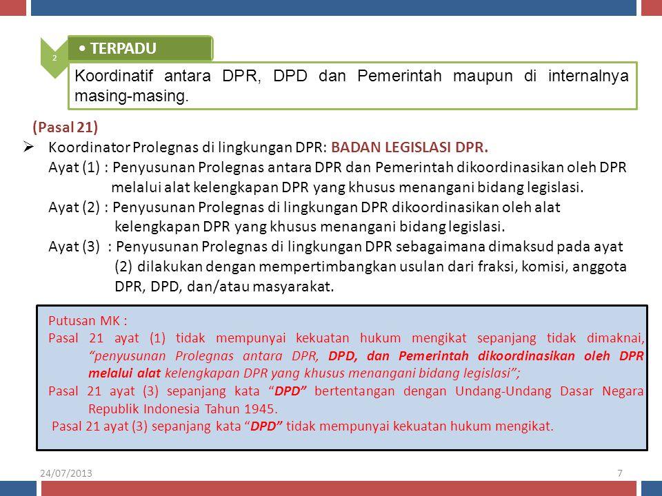  Koordinator Prolegnas di lingkungan DPR: BADAN LEGISLASI DPR. Ayat (1) : Penyusunan Prolegnas antara DPR dan Pemerintah dikoordinasikan oleh DPR mel