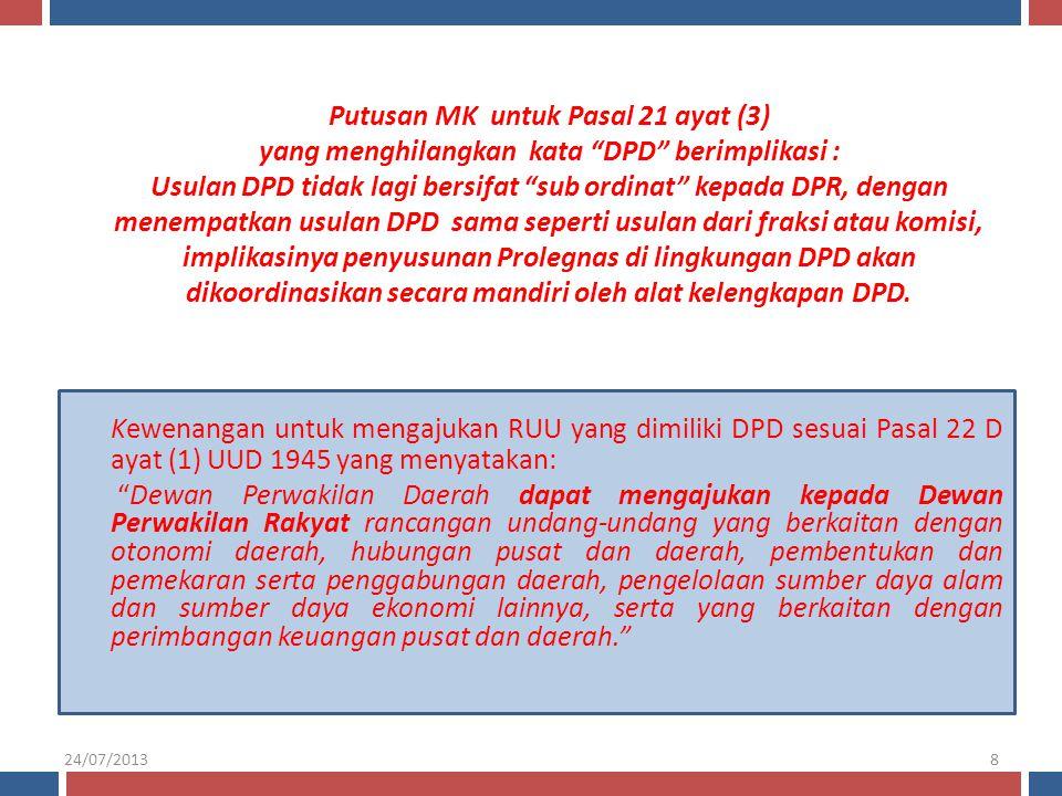 """Kewenangan untuk mengajukan RUU yang dimiliki DPD sesuai Pasal 22 D ayat (1) UUD 1945 yang menyatakan: """"Dewan Perwakilan Daerah dapat mengajukan kepad"""