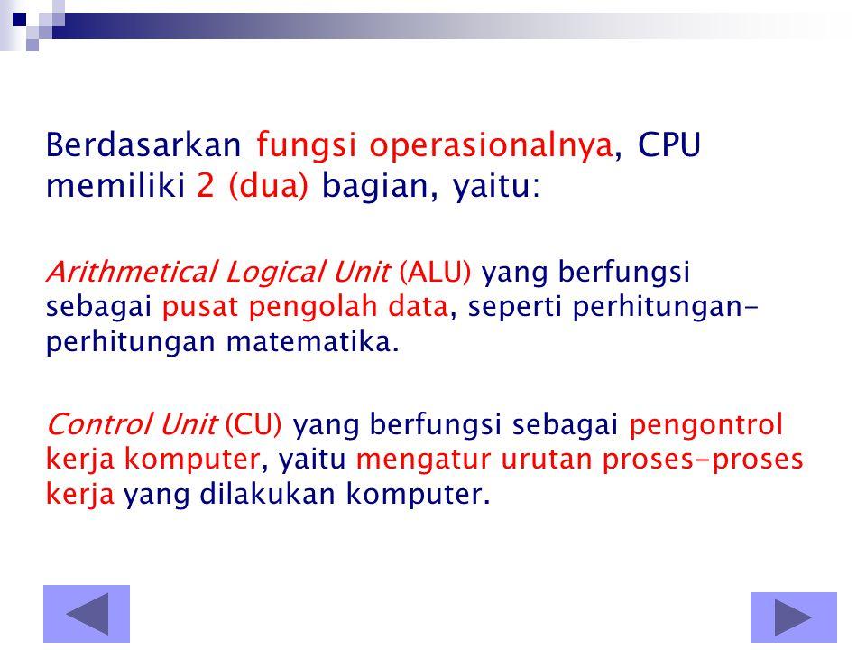 A. Central Processing Unit (CPU) •CPU adalah bagian terpenting dari komputer, karena CPU adalah otak dari komputer. •CPU atau microprocessor atau proc