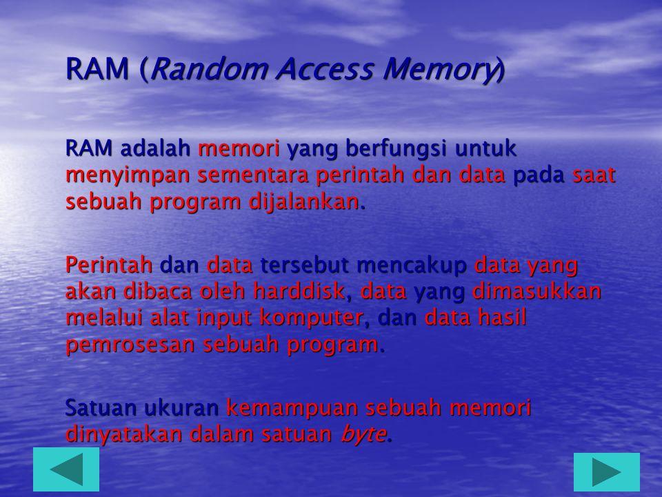 B. Memori  Memori adalah perangkat keras komputer yang berfungsi untuk menyimpan informasi sebelum atau sesudah diproses oleh prosesor.  Informasi d