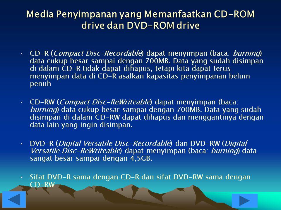 CD-ROM drive dan DVD-ROM drive CD-ROM (Compact Disc-Read Only Memory) drive adalah alat yang dipakai untuk membaca data dan perintah dari CD DVD-ROM (