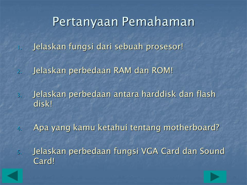 F. Sound Card •Sound Card adalah kartu elektronik yang dipasangkan pada salah satu slot di motherboard •Sound Card adalah peralatan komputer yang berf