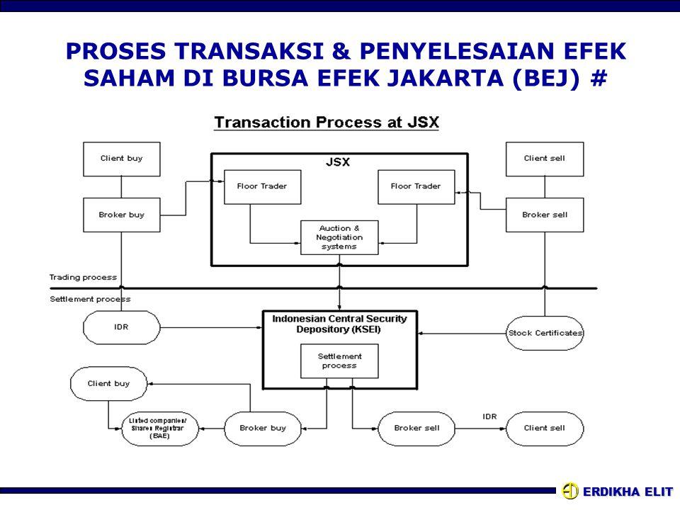 ERDIKHA ELIT PROSES TRANSAKSI & PENYELESAIAN EFEK SAHAM DI BURSA EFEK JAKARTA (BEJ) #