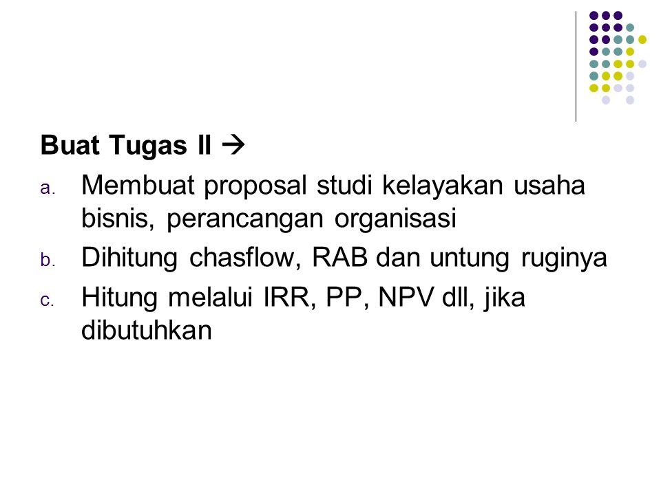 Buat Tugas II  a. Membuat proposal studi kelayakan usaha bisnis, perancangan organisasi b. Dihitung chasflow, RAB dan untung ruginya c. Hitung melalu
