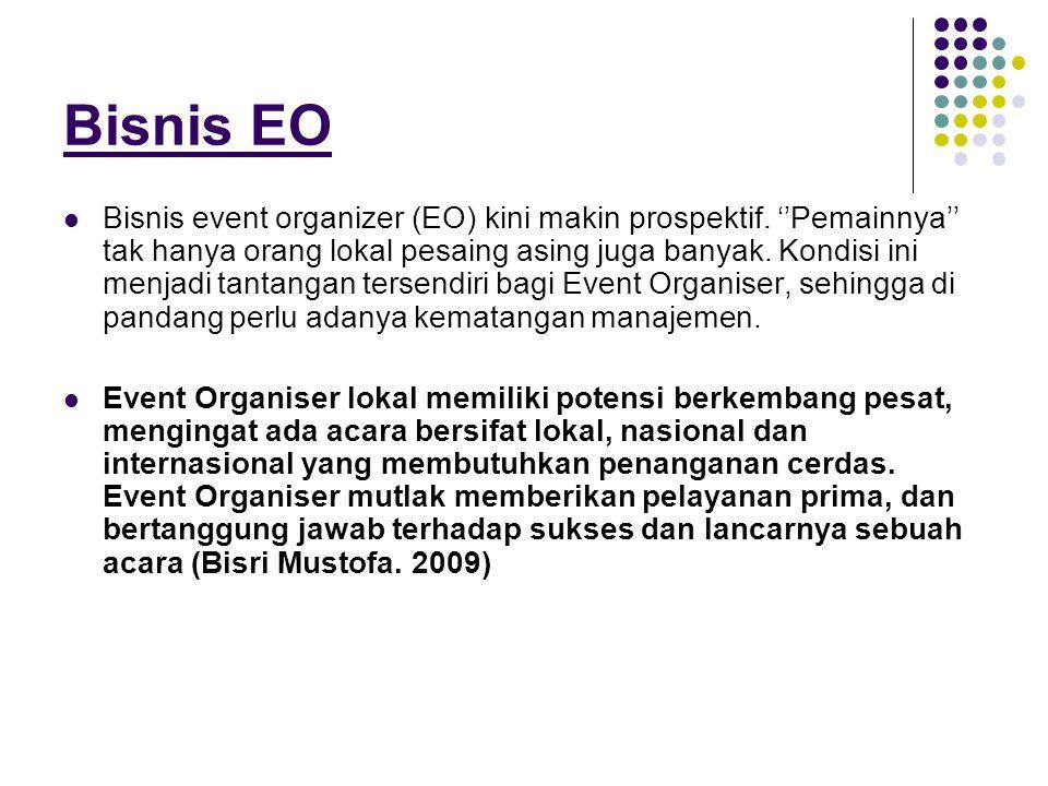 Bisnis EO  Bisnis event organizer (EO) kini makin prospektif. ''Pemainnya'' tak hanya orang lokal pesaing asing juga banyak. Kondisi ini menjadi tant