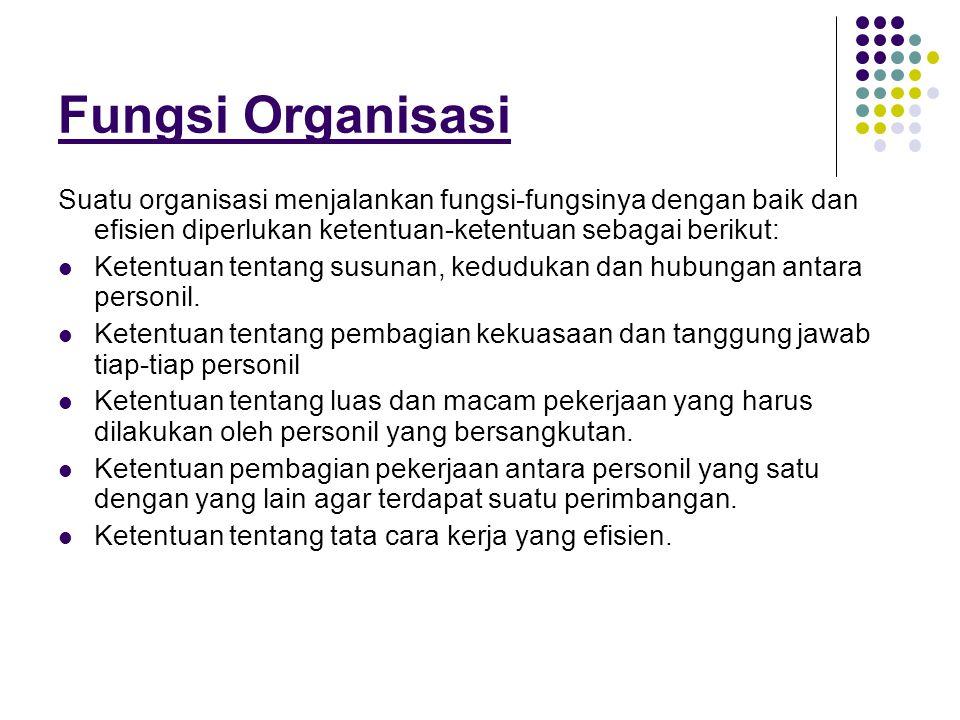 Fungsi Organisasi Suatu organisasi menjalankan fungsi-fungsinya dengan baik dan efisien diperlukan ketentuan-ketentuan sebagai berikut:  Ketentuan te
