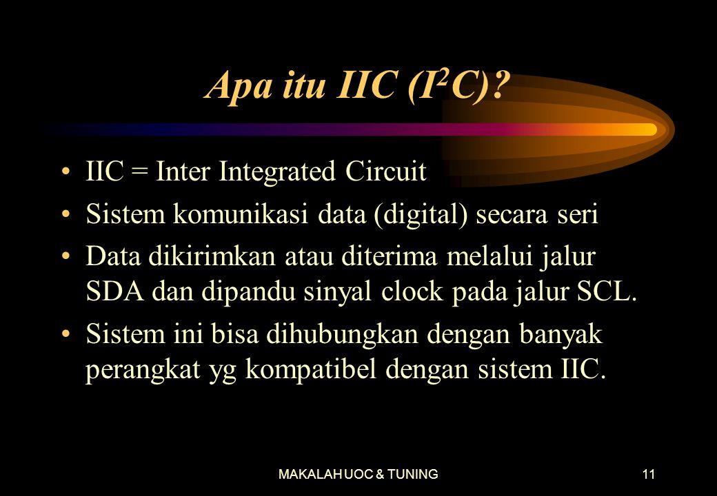 MAKALAH UOC & TUNING10 Proses Komunikasi yang Terjadi di Jalur IIC •Mulai dari saat TV menyala, microprocessor baca data pada memori IC1103. •Micropro