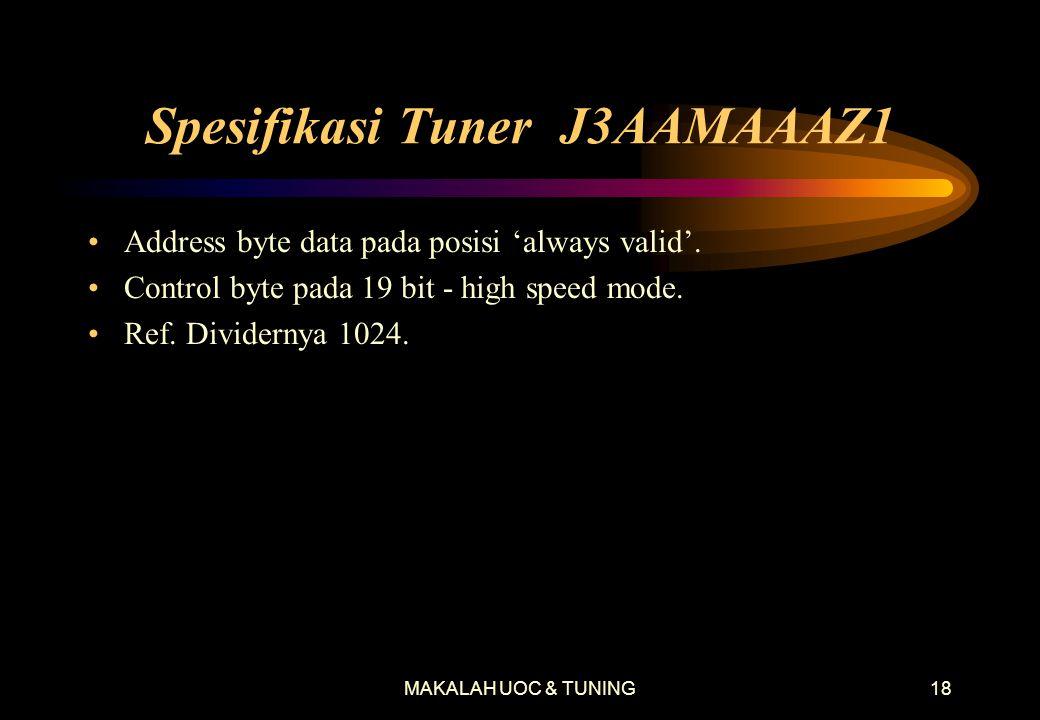 MAKALAH UOC & TUNING18 Spesifikasi Tuner J3AAMAAAZ1 •Address byte data pada posisi 'always valid'.