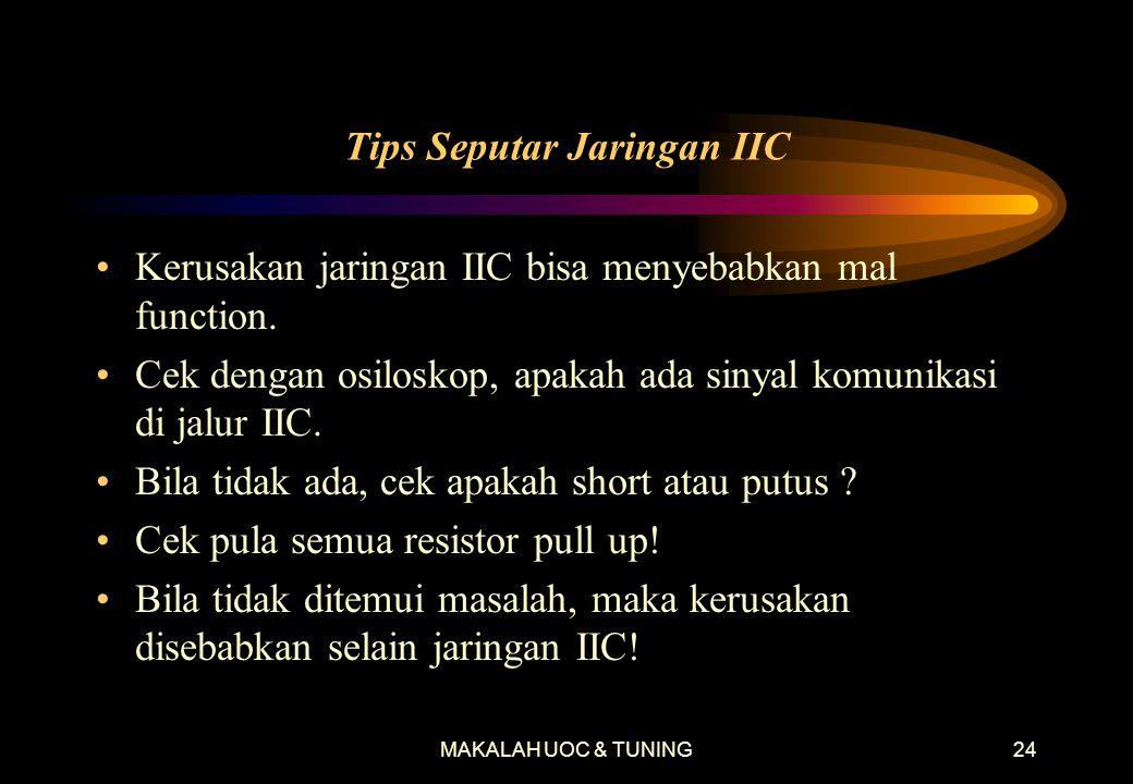 MAKALAH UOC & TUNING24 Tips Seputar Jaringan IIC •Kerusakan jaringan IIC bisa menyebabkan mal function.