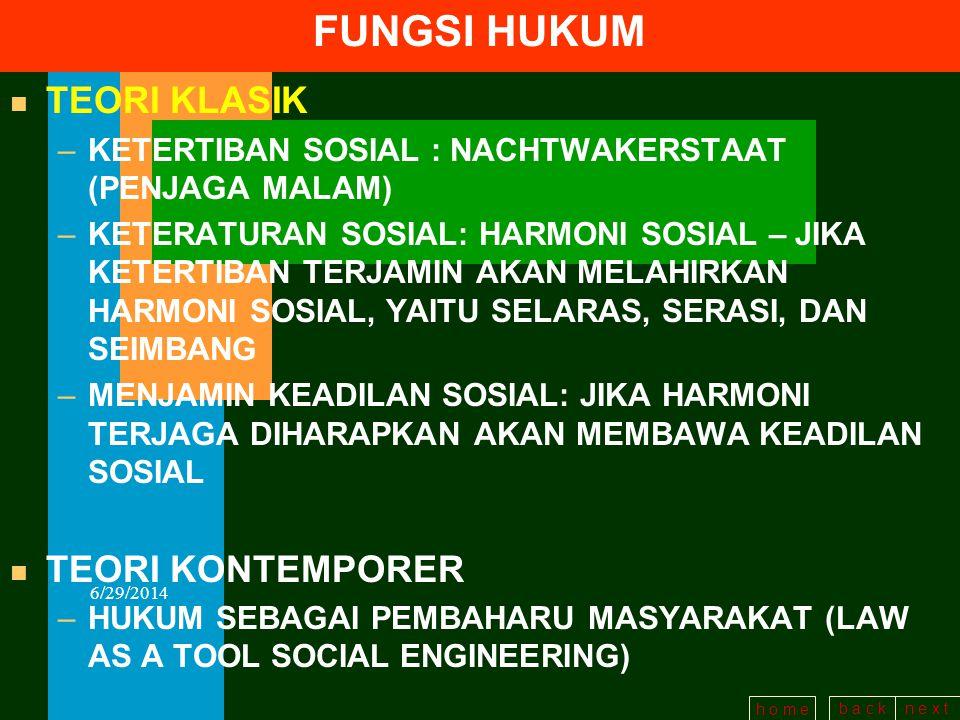 b a c kn e x t h o m e 6/29/2014 FUNGSI HUKUM TEORI KLASIK TEORI KONTEMPORER KETERTIBAN KETERATURAN/HARMONI KEADILAN SOSIAL PEMBAHARUAN SOSIAL (LAW AS A TOOL OF SOCIAL ENGINEERING)