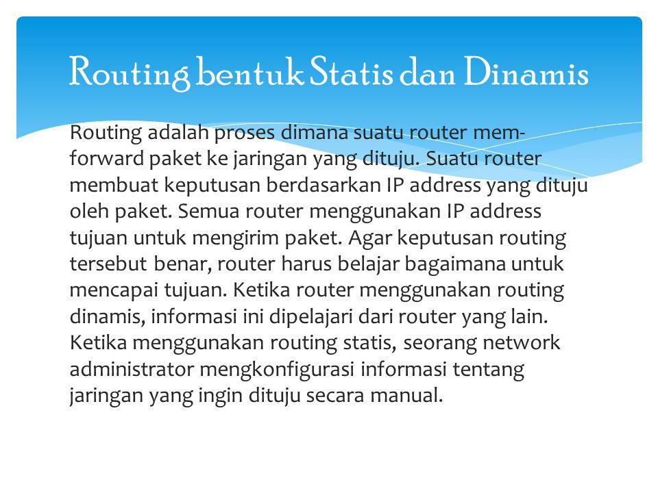 Cara kerja routing statis dapat dibagi menjadi 3 bagian: - Administrator jaringan yang mengkonfigurasi router - Router melakukan routing berdasarkan informasi dalam tabel routing - Routing statis digunakan untuk melewatkan paket data Seorang administrator harus menggunakan perintah ip route secara manual untuk mengkonfigurasi router dengan routing statis.