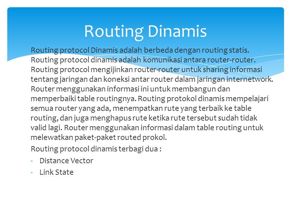 Routing protocol Dinamis adalah berbeda dengan routing statis. Routing protocol dinamis adalah komunikasi antara router-router. Routing protocol mengi