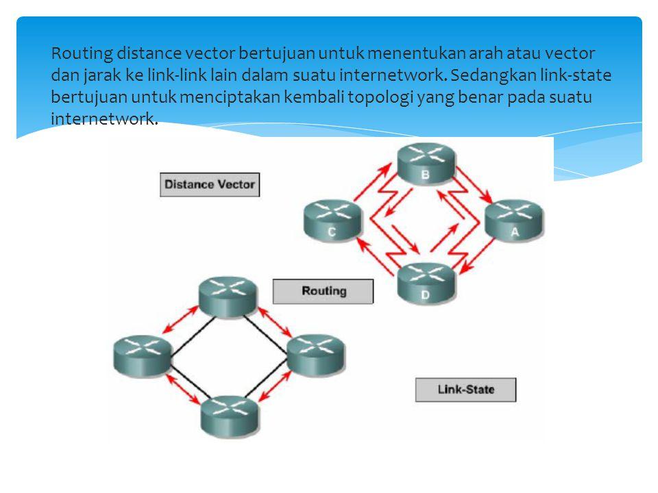 Routing distance vector bertujuan untuk menentukan arah atau vector dan jarak ke link-link lain dalam suatu internetwork. Sedangkan link-state bertuju