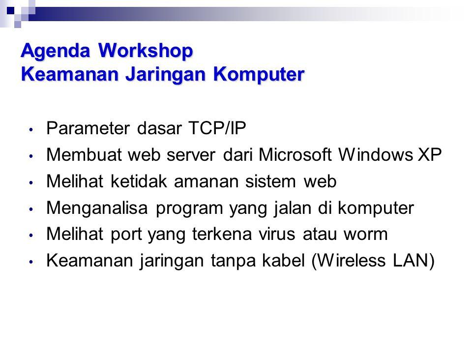Agenda Workshop Keamanan Jaringan Komputer • Parameter dasar TCP/IP • Membuat web server dari Microsoft Windows XP • Melihat ketidak amanan sistem web