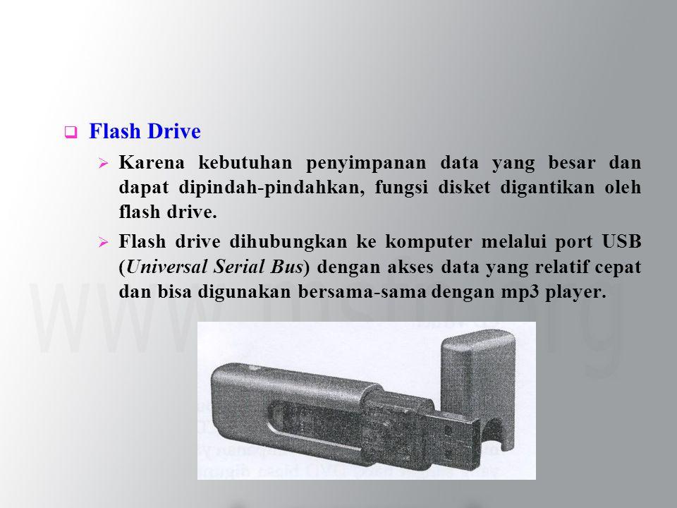  Flash Drive  Karena kebutuhan penyimpanan data yang besar dan dapat dipindah-pindahkan, fungsi disket digantikan oleh flash drive.