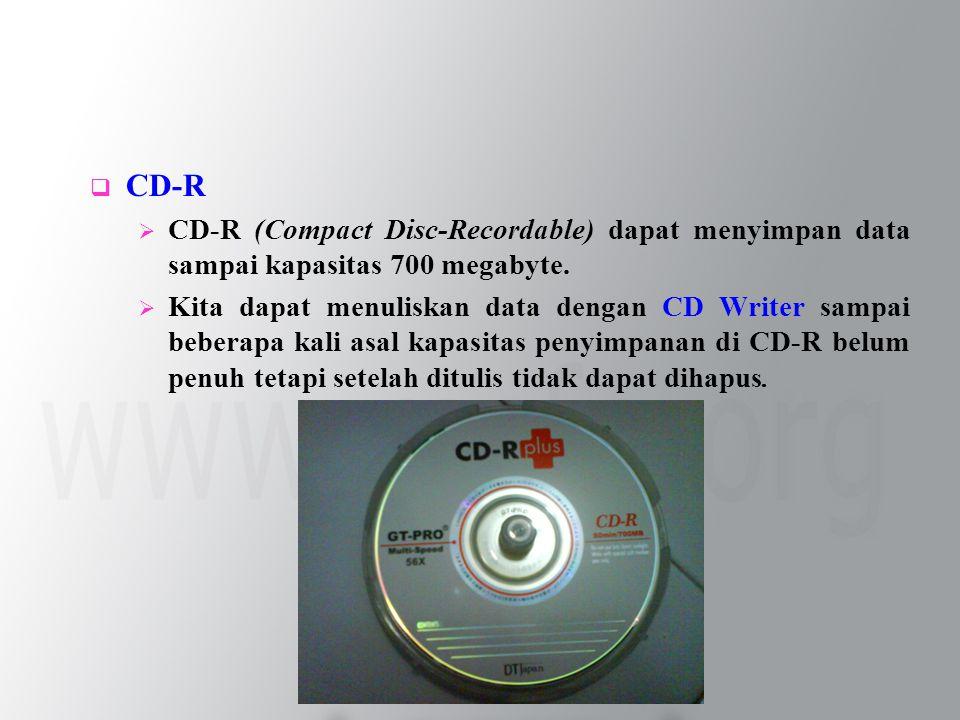  CD-R  CD-R (Compact Disc-Recordable) dapat menyimpan data sampai kapasitas 700 megabyte.