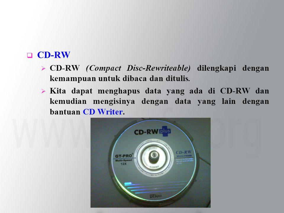  CD-RW  CD-RW (Compact Disc-Rewriteable) dilengkapi dengan kemampuan untuk dibaca dan ditulis.