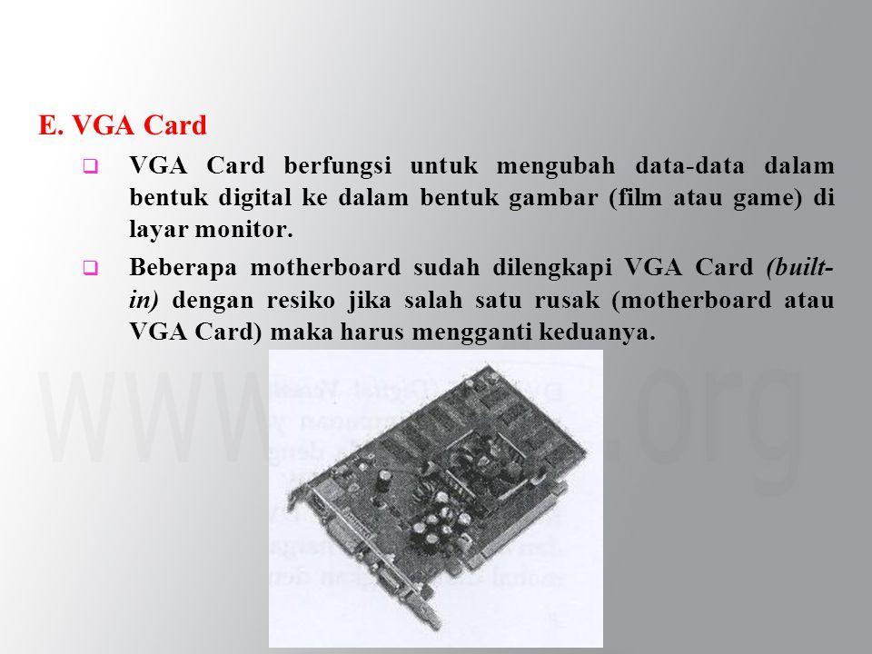 E. VGA Card  VGA Card berfungsi untuk mengubah data-data dalam bentuk digital ke dalam bentuk gambar (film atau game) di layar monitor.  Beberapa mo