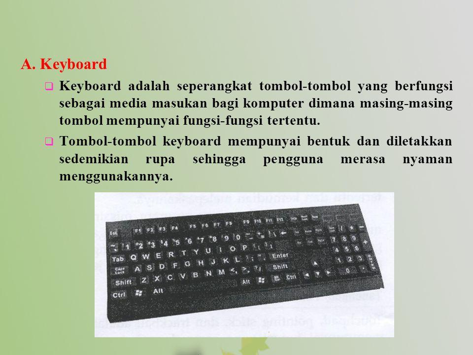 A. Keyboard  Keyboard adalah seperangkat tombol-tombol yang berfungsi sebagai media masukan bagi komputer dimana masing-masing tombol mempunyai fungs