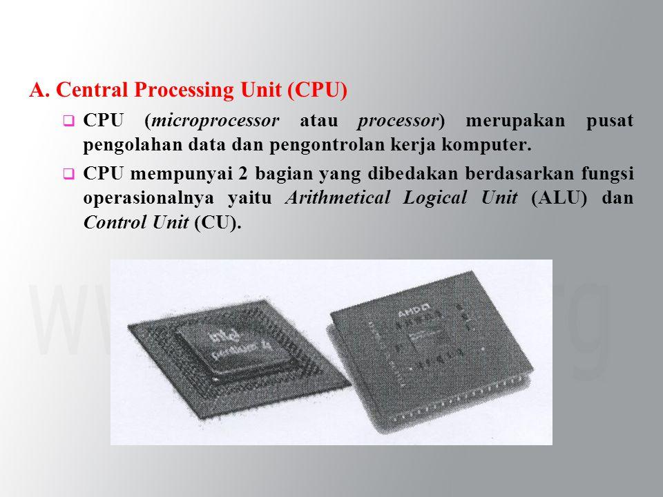 A. Central Processing Unit (CPU)  CPU (microprocessor atau processor) merupakan pusat pengolahan data dan pengontrolan kerja komputer.  CPU mempunya