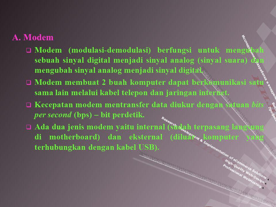 A. Modem  Modem (modulasi-demodulasi) berfungsi untuk mengubah sebuah sinyal digital menjadi sinyal analog (sinyal suara) dan mengubah sinyal analog