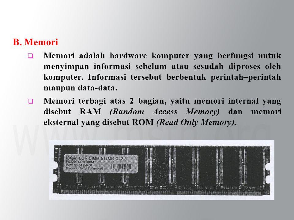 B. Memori  Memori adalah hardware komputer yang berfungsi untuk menyimpan informasi sebelum atau sesudah diproses oleh komputer. Informasi tersebut b