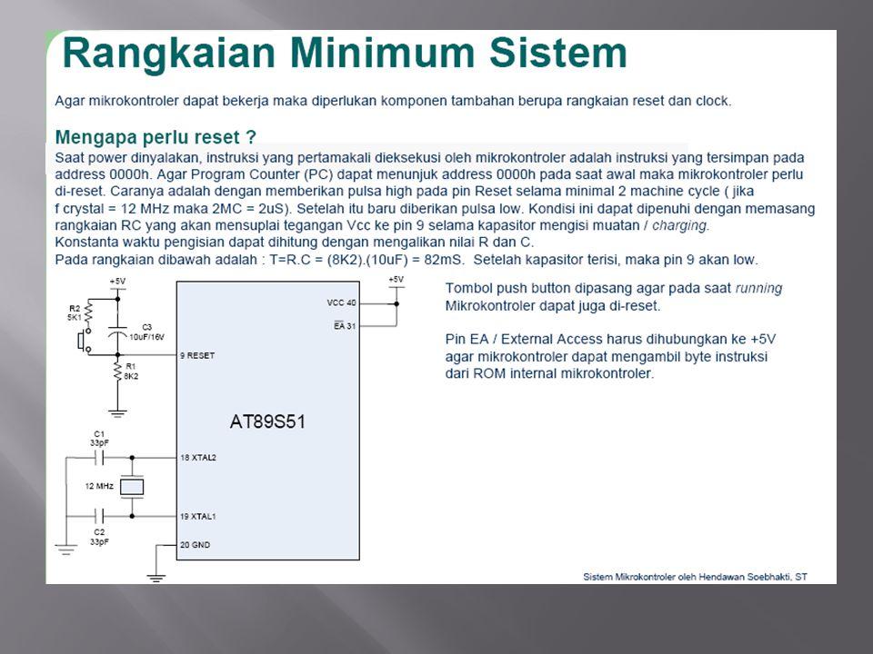 Memori dari 89C51 terbagi menjadi: - RAM Internal o Register Bank o Bit addressable RAM o General Purpose RAM - Register Fungsi Khusus (Special Function Register) - Flash PEROM - Memori Eksternal