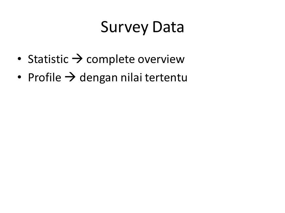 Survey Data • Statistic  complete overview • Profile  dengan nilai tertentu