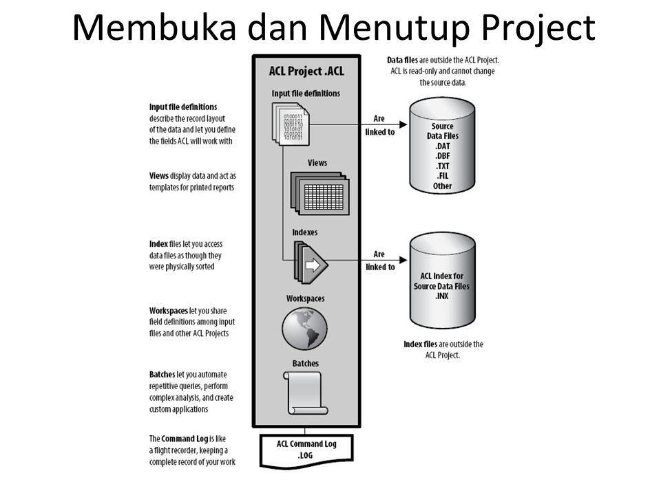 Window ACL •Menu Bar •Button Bar •Display Area •Project Navigator •Overview •Log