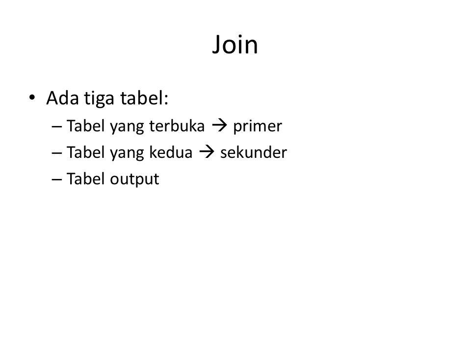 Join • Ada tiga tabel: – Tabel yang terbuka  primer – Tabel yang kedua  sekunder – Tabel output