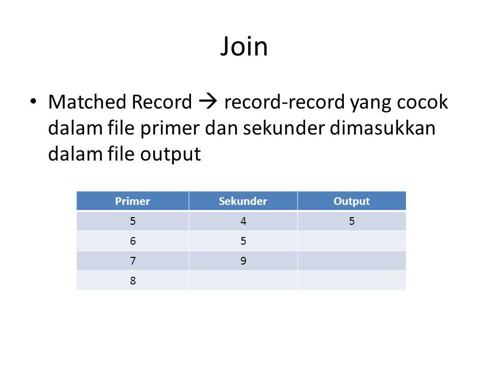 Join • Matched Record  record-record yang cocok dalam file primer dan sekunder dimasukkan dalam file output PrimerSekunderOutput 545 65 79 8