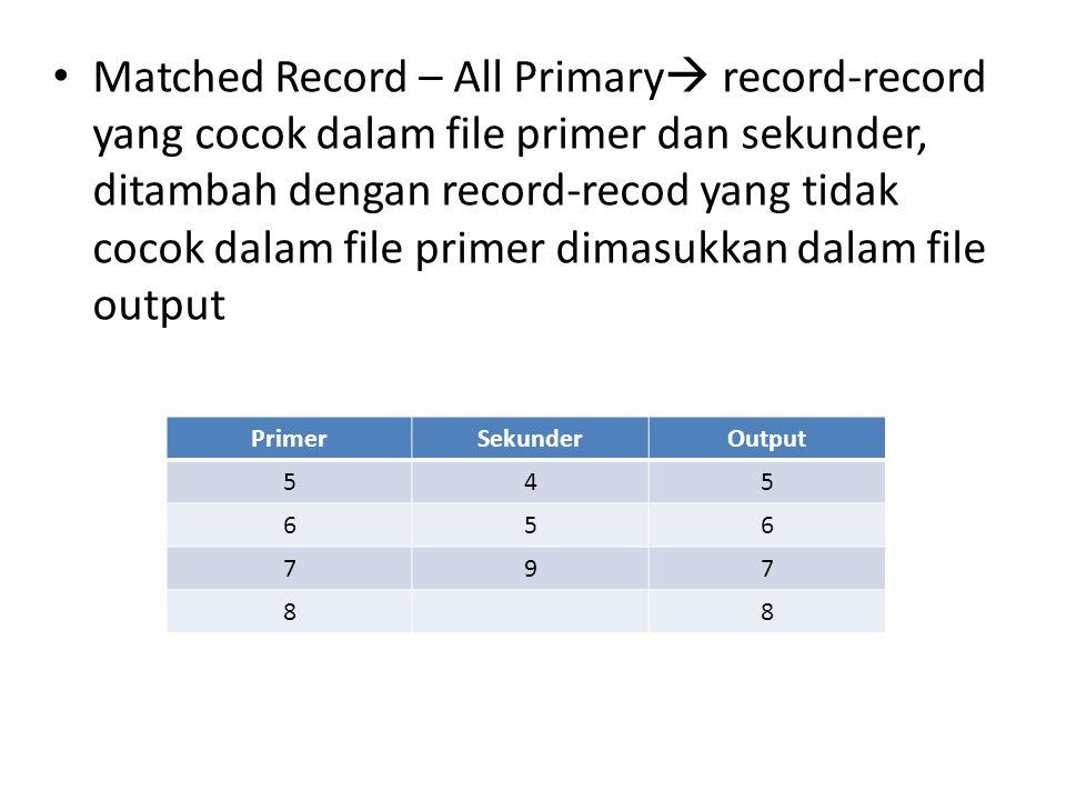 • Matched Record – All Primary  record-record yang cocok dalam file primer dan sekunder, ditambah dengan record-recod yang tidak cocok dalam file pri